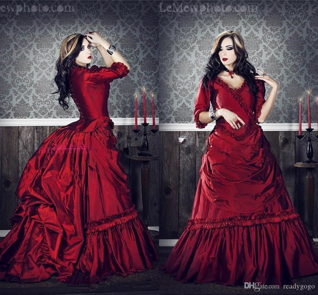 Gothic Victorian vintage wedding dresses plus size Cosplay Costumes Half Sleeves Ruffles Draped Burgundy Red Ball Gown bridal dress