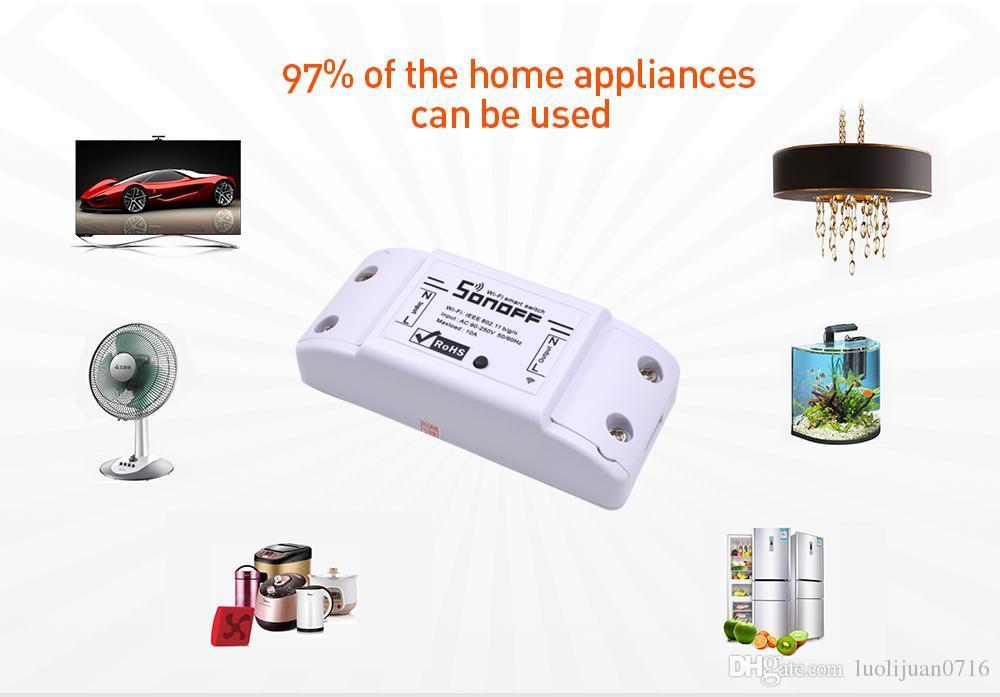 Sonoff wifi الذكية اللاسلكية التبديل التحكم عن أتمتة التتابع وحدة العالمي diy المنزل الذكي جهاز التحكم 10a 220 فولت ac 90-250 فولت