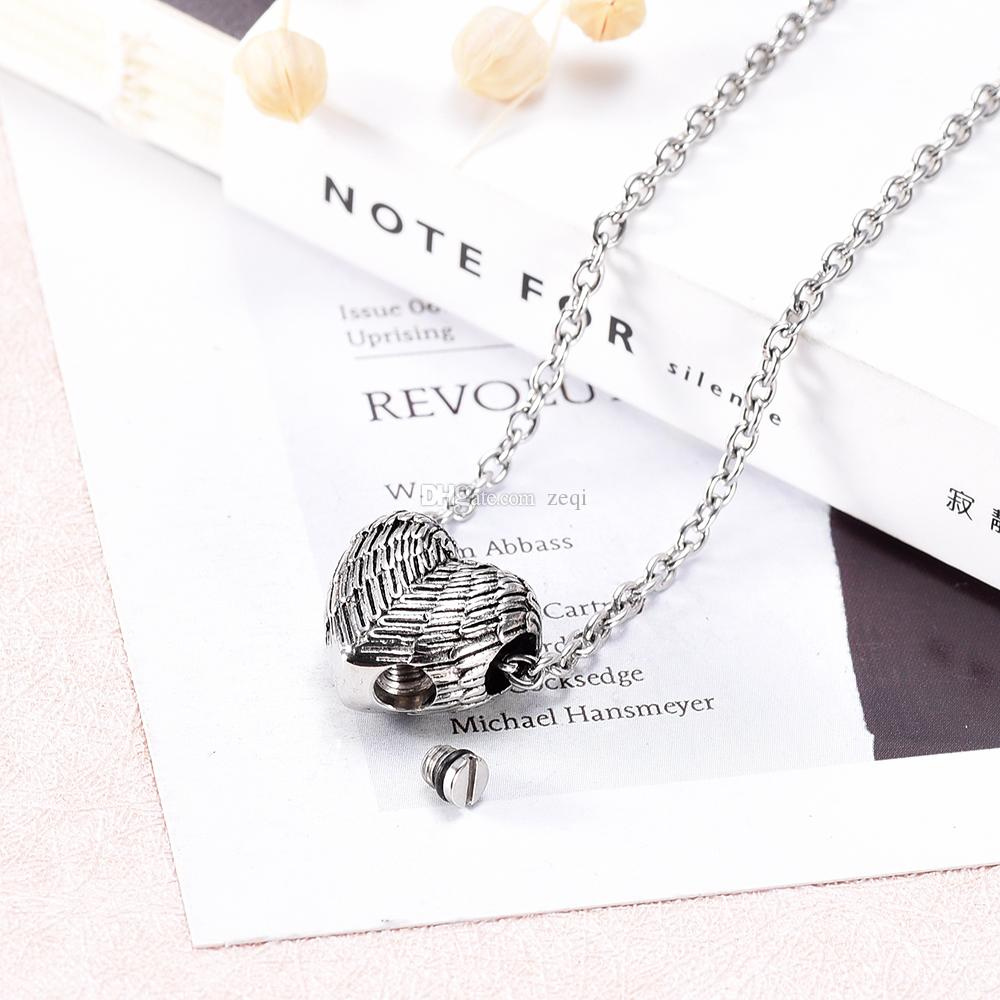 IJD9990 Heart Shape Engrave Cremation Jewelry Name Carve Urn Keepsake Hold Ashes Locket Memorial Urn Necklace Jewelry