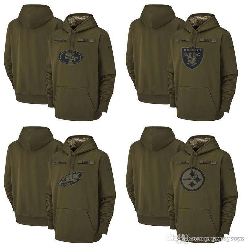 new product 8c00a 90664 Oakland Raiders Philadelphia Eagles Pittsburgh Steelers San Francisco 49ers  Salute to Service Sideline Therma Performance Pullover Hoodie