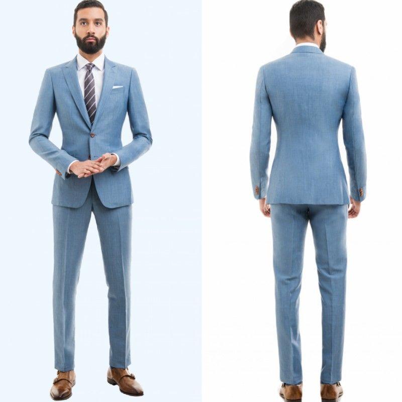ba9cb44b002 Compre Los Hombres De La Boda Azul Cielo Se Adaptan Slim Fit Novio Esmoquin  Para Hombres Dos Piezas De Traje De Los Padrinos De Boda Formal Negocios ...