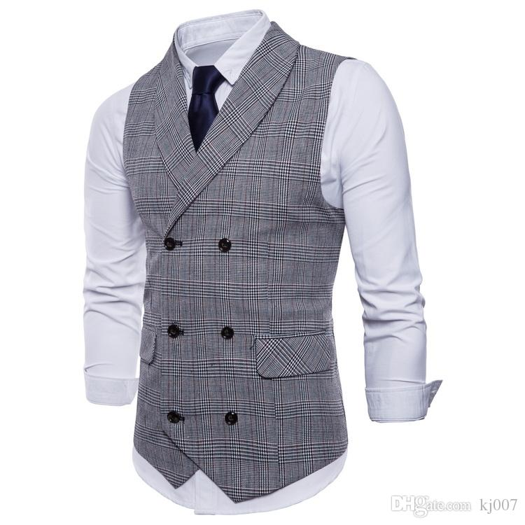 New Vests Double Breasted Lapel Neck Men Vests 2018 New Style Plaid Designer Fashion Vest for Mens Casual Formal Clothing Top Shirts Man