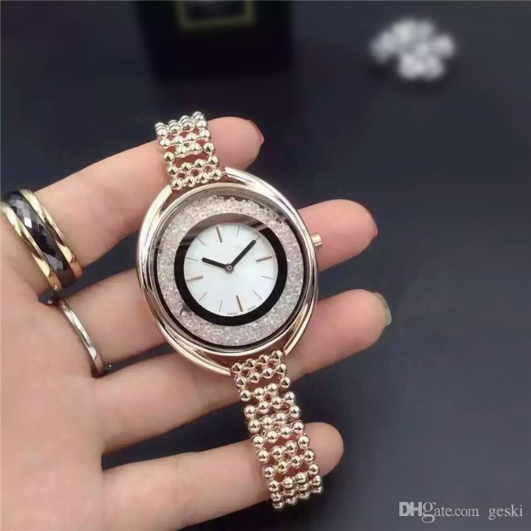 2018 Rolling Crystal Luxury Fashion ladies dress watches Famous Brand full diamond Jewelry Rose gold Women watch High Quality