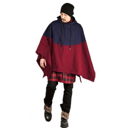 2017 Men's Winter Cotton Hooded Coat Smock Pullovers Cape Cloak Poncho Sweatshrits Hoodie Red Gray Blue