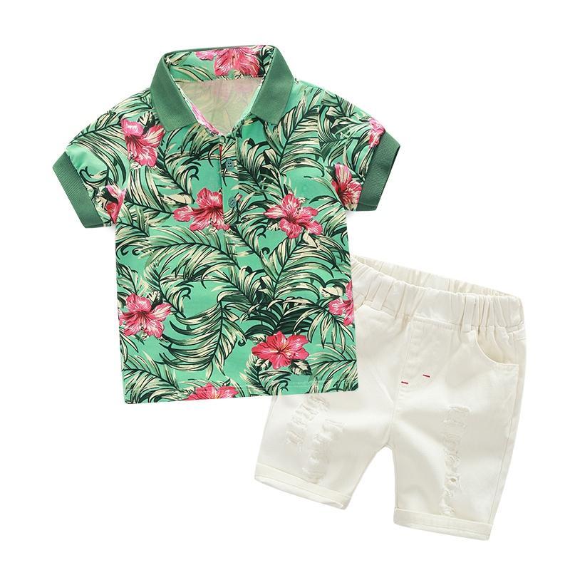 Compre Nuevo Estampado De Flores De Verano Niños Camisa De Algodón Hawaiano  Tropical Tops Blancos Pantalones Cortos 2 Piezas De Ropa Set A  21.01 Del  Humom ... 388815212d08