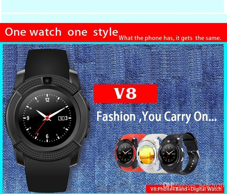 2018 Hot V8 Smart Watch Clock With Sim TF Card Slot Bluetooth suitable for ios Android Phone Smartwatch IPS HD Full Circle Display MTK6261D