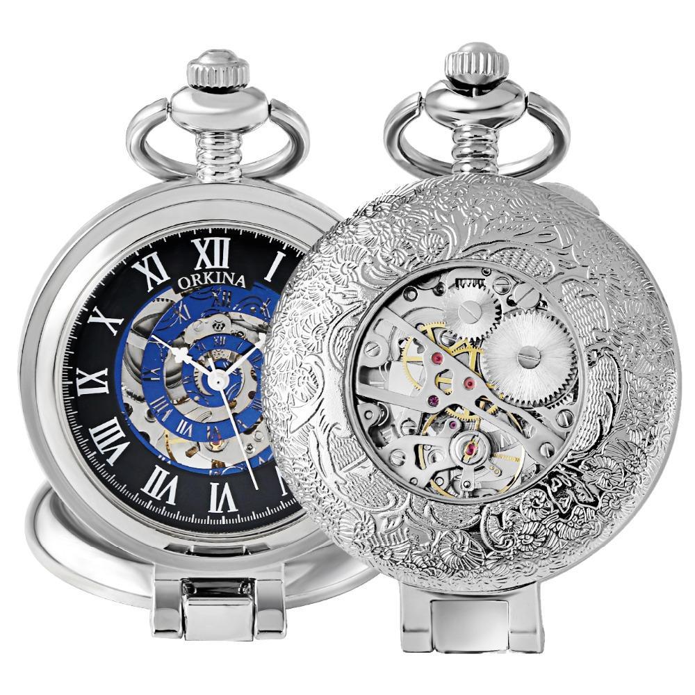 af1f4afbfaf0 Compre Antiguo Mecánico Relojes De Bolsillo Collar De Esqueleto De Plata  Reloj Fob Mecánico Viento De La Mano Reloj De Pulsera Para Hombre Reloj Con  Cadena ...