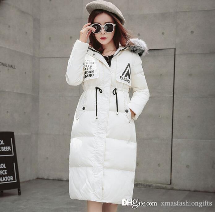 premium selection 54357 02dcc Buy Winter Daunenjacken Frauen Slim Hoody mit Waschbärpelz Lange Brand  Design Damen kalt Parka Warm Outwear Cool Red Black Coat Verkauf