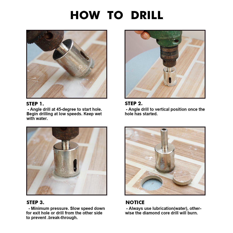 Diamond Drill Bits, Genround Hollow Core Drill Bit Set for Ceramic, Glass, Porcelain Tile Diamond Hole Saw