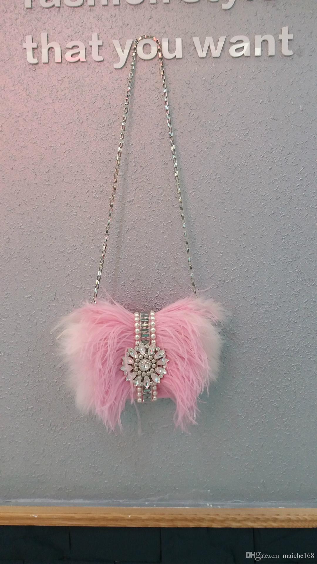 Nuova borsa di piume di struzzo borsa da sera strass moda borse da donna spalla catena di diagonale