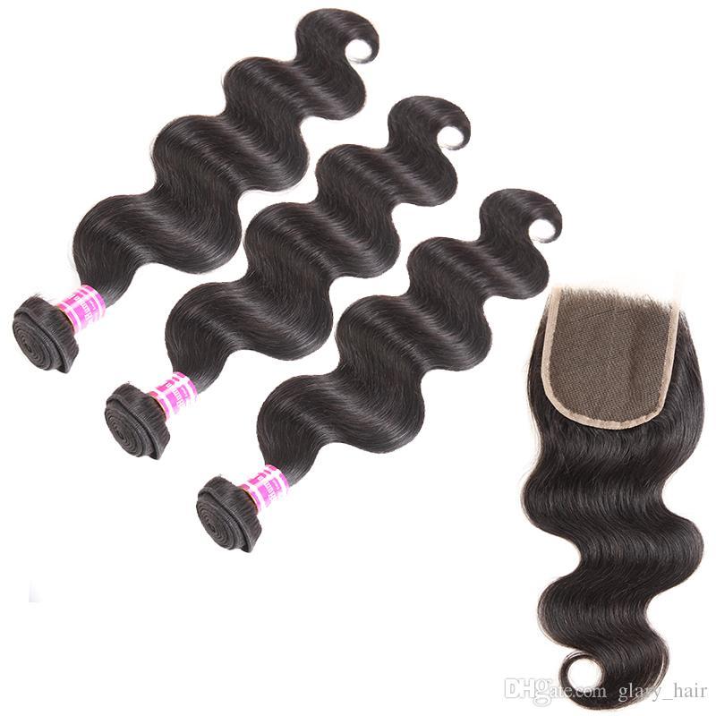 100% brazilian virgin hair body wave weft with 4x4 lace closure 3 bundles weave and closure cheap brazilian human hair weave