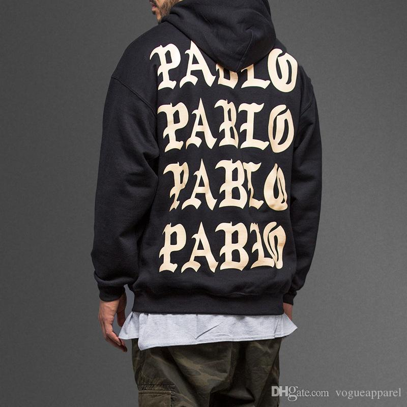 Kanye West Mens Winter Hoodies Life of Pablo Fleece Pullover Letters Print Loose Hip Pop Hooded Tracksuit