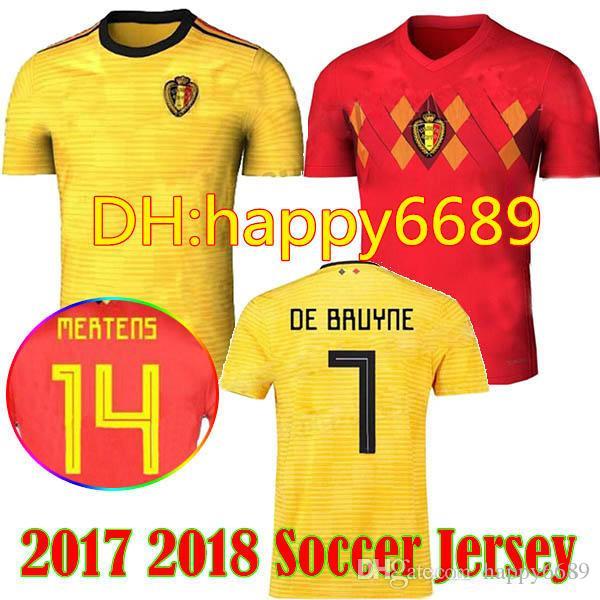 1ff3ecef3c Compre 2018 Copa Do Mundo De Futebol De Bélgica Jersey Away Amarelo 7   De  Bruyne Camisa De Futebol 9 R. Lukaku 10 E. Hazard 18 19 Camisa De Uniformes  De ...
