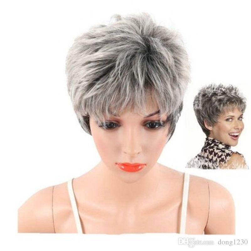 Short Grey Pixie Wig For Women Short Curly Hair Synthetic Pixie Wig Cosplay