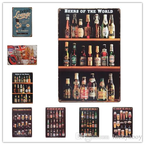 Cheers Beers of the World London Cocktail Vintage Retro Metal Tin Sign Retro Metal Painting Poster Bar Pub Signs Wall Art Sticker
