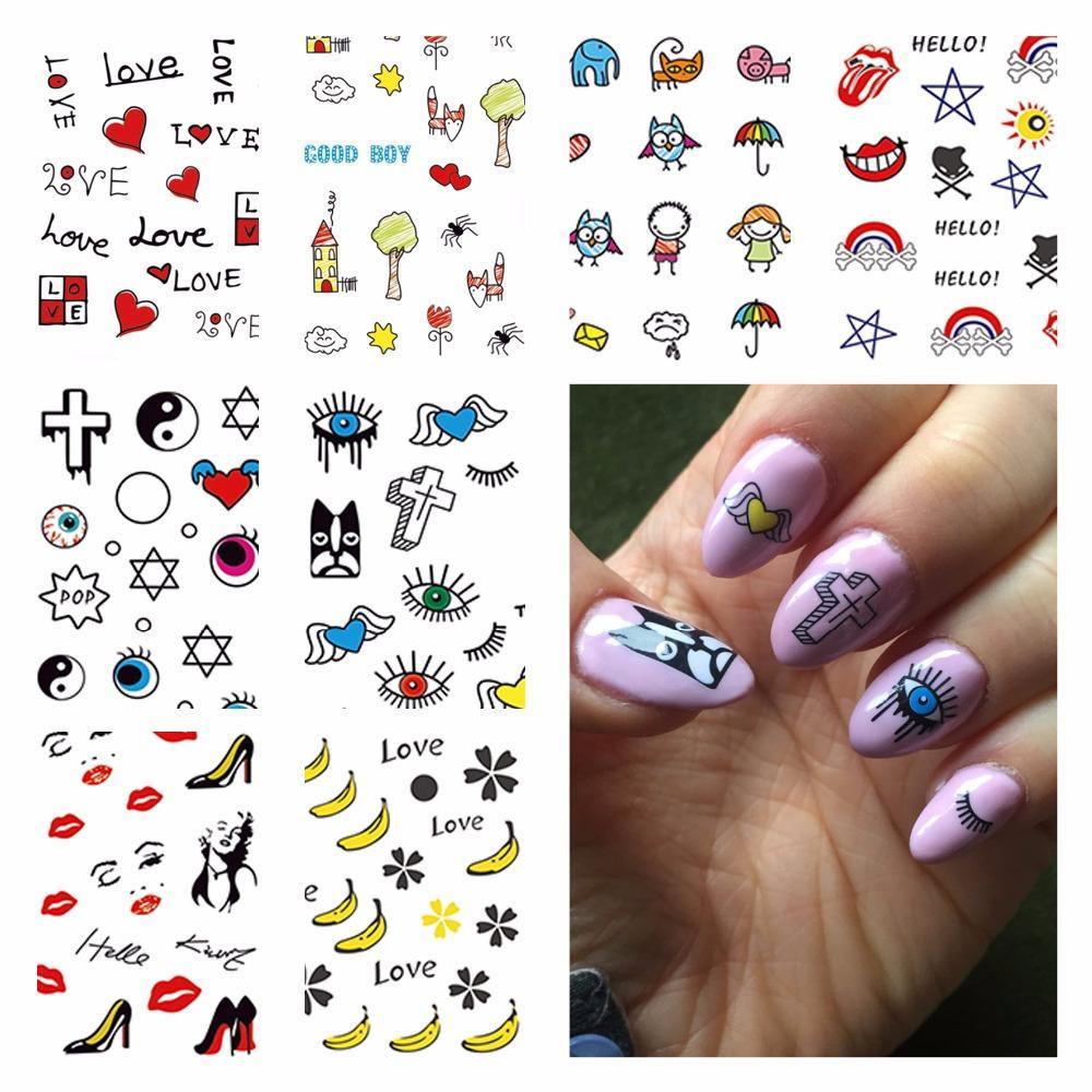 Wuf 1 Sheet Optional Beauty Nails Harajuku Designs Nail Art Water