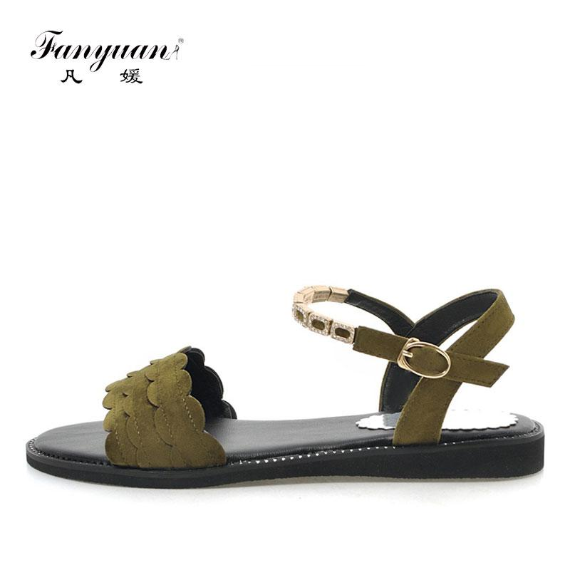 1576a2bddfd490 Wholesale Women Designer Shoes Summer Flat Sandals Sweet Ruffles Rhinestone  Strap Sandals Comfort Girls Casual Outdoor Black Shoes Wedge Booties  Saltwater ...