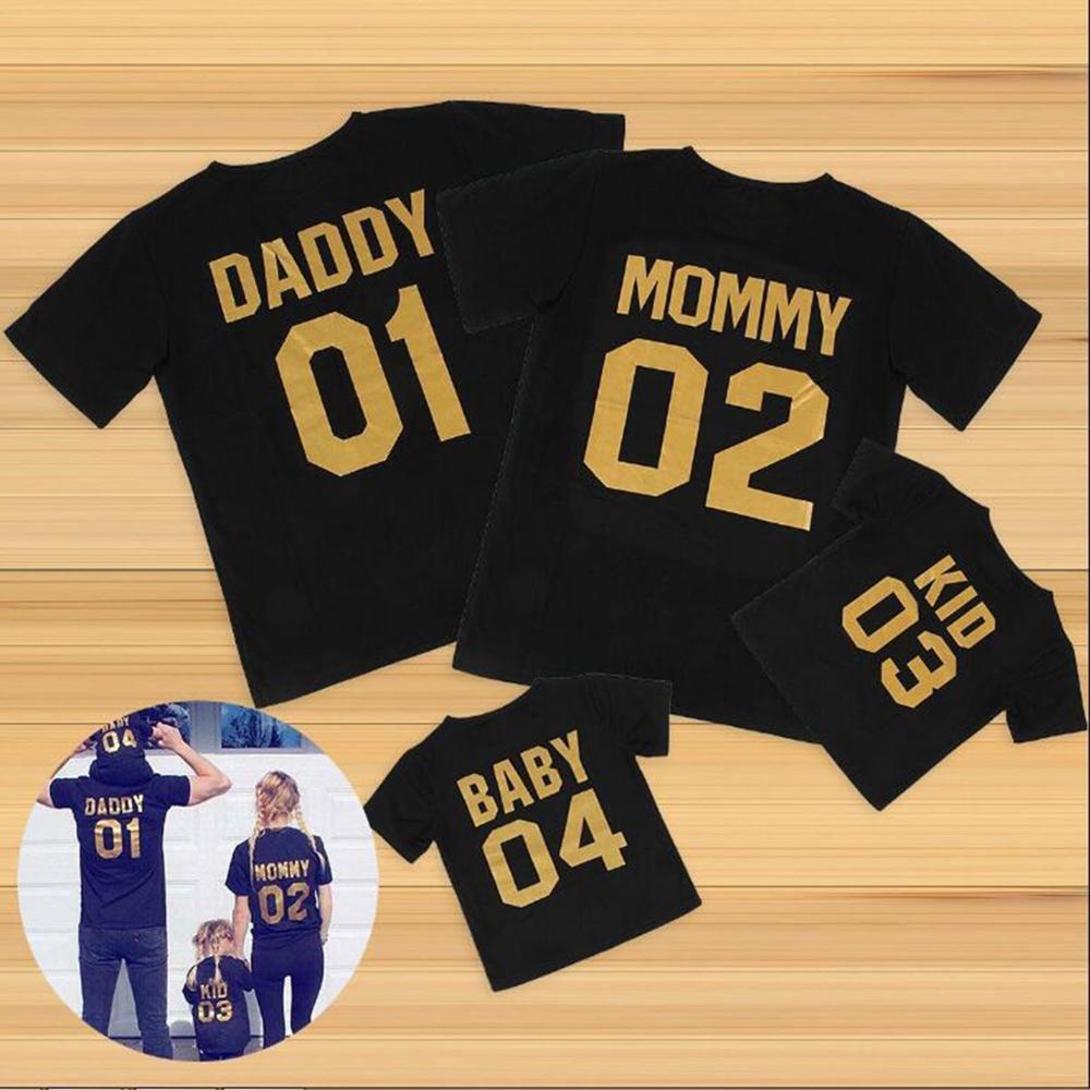 Chifuna Nova Chegada 2017 Família Olhar Moda Verão Pai Mum Bebê Camisetas Outerwear Número Impresso Família Combinando Outfits