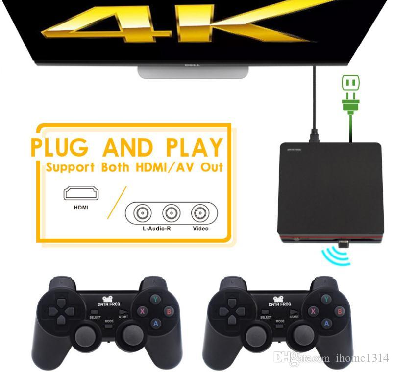 2018 4GB 64bits 4K HDMI TV game console with wireless controller bulit- in  600 games support TF card download games new arrival