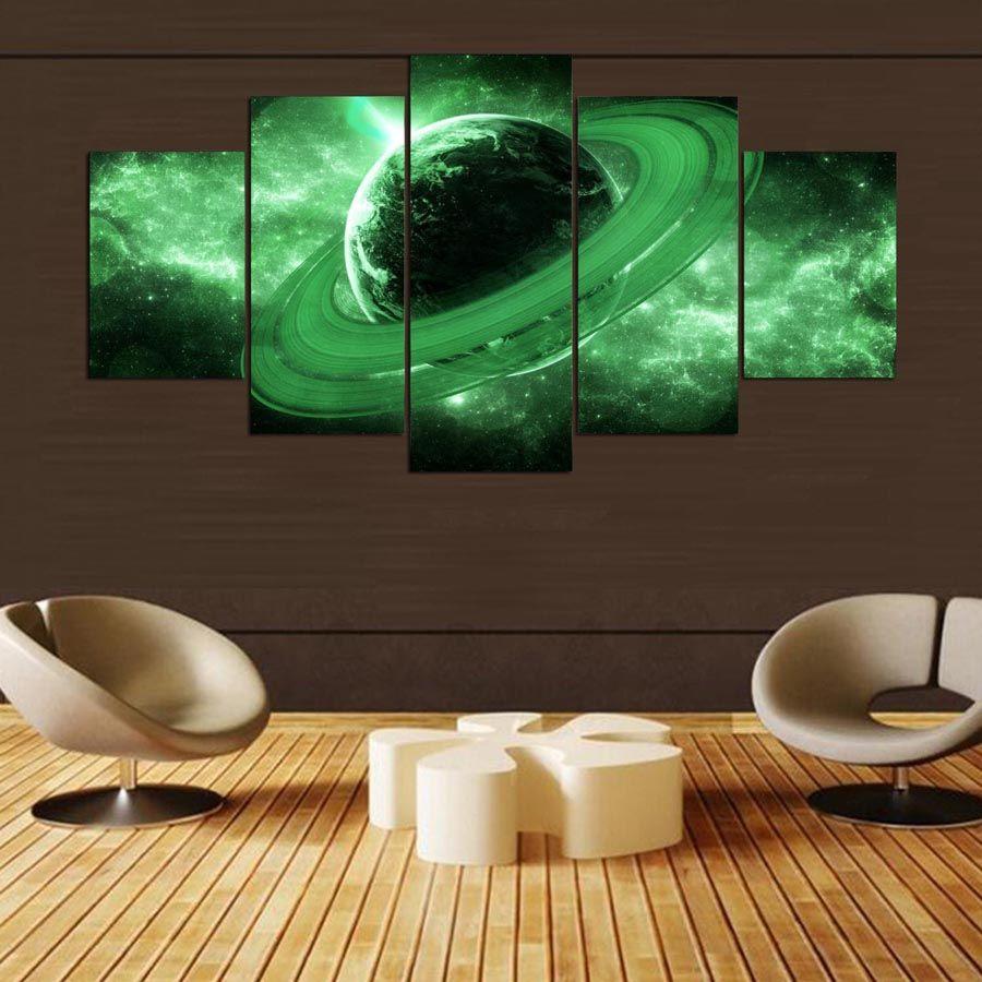 Acheter Grande Peinture Sur Toile Pour Chambre À Coucher 5 Panneau Vert  Planète Paysage Salon Maison Mur Artwork Décoration Imprimée Photos  Modulaires De ...