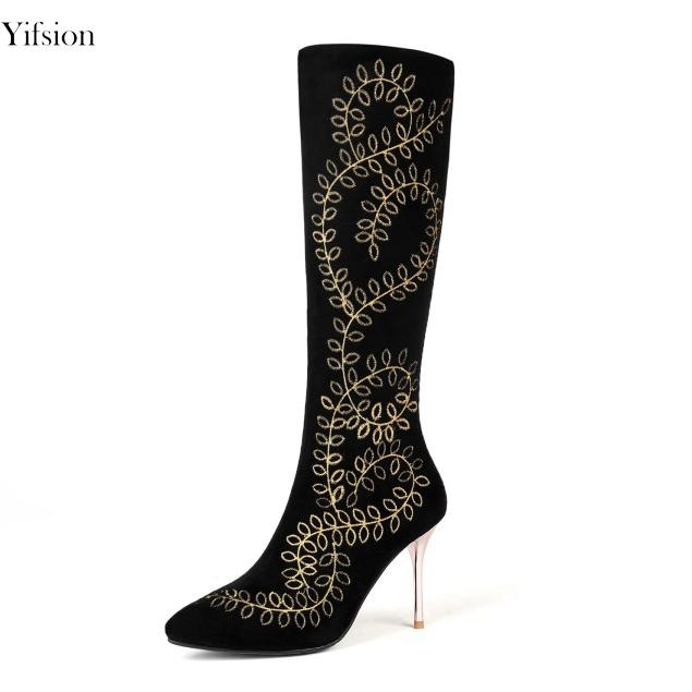 b60e29118f7 Yifsion Women Knee High Boots Sexy Thin High Heels Boots Stylish Pointed  Toe Elegant Black Party Prom Shoes Women US Size 3-13