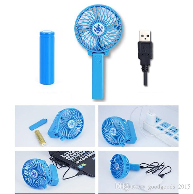 Nuevos ventiladores de mano plegables Operador a batería recargable de mano Mini ventilador Ventiladores personales eléctricos Barra de mano Ventilador de escritorio USB Gadgets c434