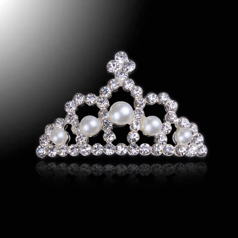 54afae15582 Strass Rhinestone Pearl Crown Button Sparking Phone Kids Diy Jewelry 4.0cm  Diamond Girls Hair Diy Accessiores