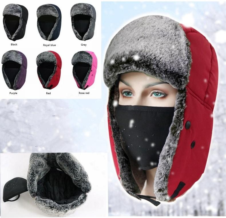 53da5cab3 Winter Trapper Hats Thicken with Ear Flaps Ushanka Aviator Russian Hat  Winter Outdoor Warm Hat Skiing Sport Windproof cap MMA1096