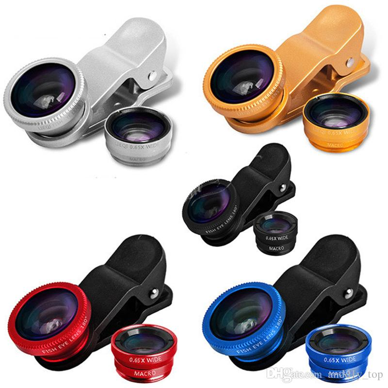 Hot 3 in 1 For iphone 6 6s samsung set fish eye lens microscope lens telescope wide angle lens for all with clip