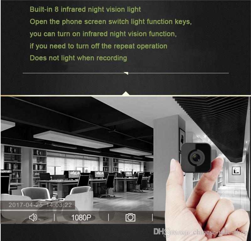 HDQ13 Wifi Kablosuz Akıllı Mini Kamera Kamera 1080 P HD IR Gece görüş Geniş Açı Spor Eylem DV DVR Telefon Uzaktan Oynatma 1 ADET / GRUP