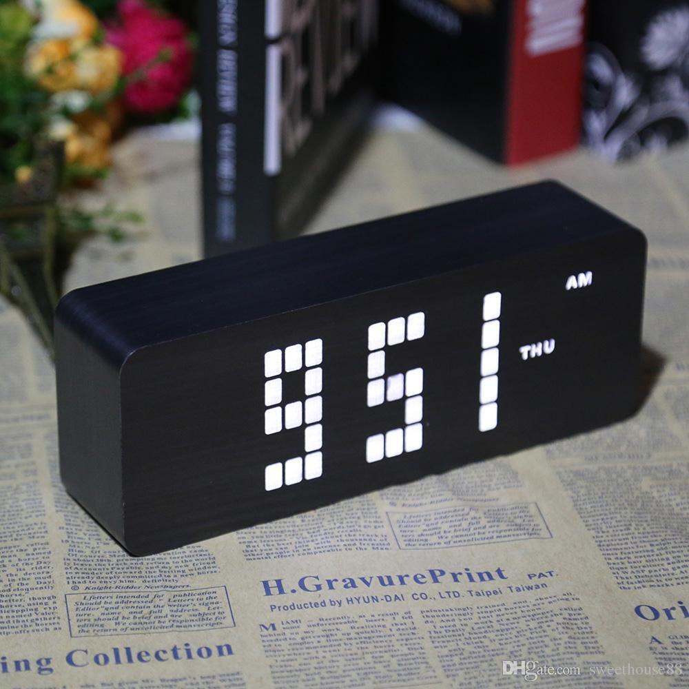 Wooden LED Digital Clocks Temperature Sounds Control Wooden Alarm clock  Desktop digital Calendar Display Table Electronic Clock NB