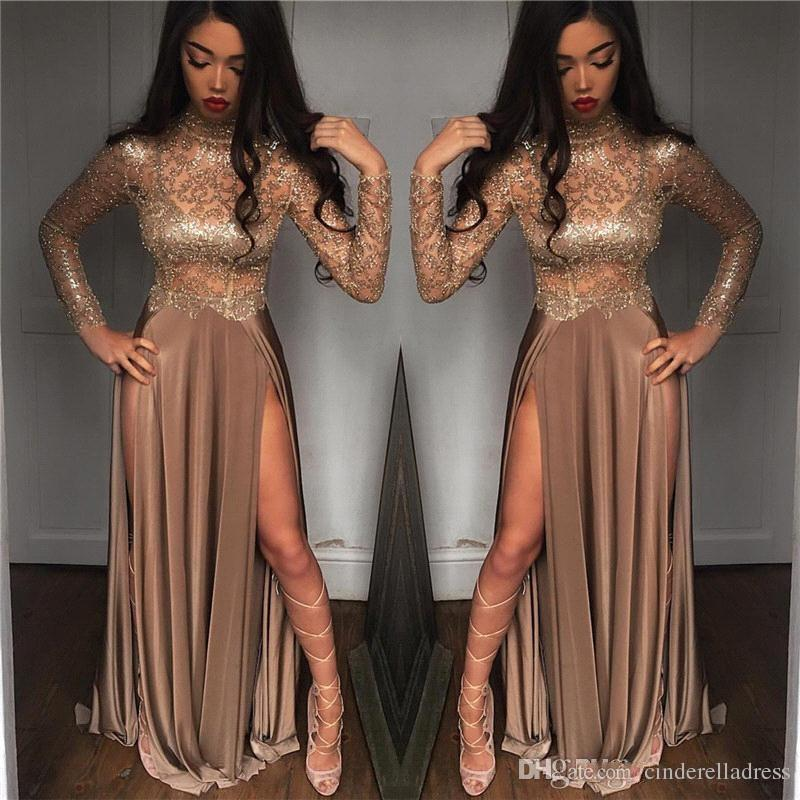 Bling Sparkly Beaded Sequins Long Sleeves Prom Dresses 2019 High Neck Long Splits Evening Dresses Black Girls Party Gowns BA8238