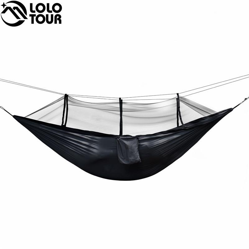 Sports & Entertainment Portable Outdoor Camping Hammock With Mosquito Net Parachute Fabric Simple Tent In The Tree Outdoor Travel Picnic Hiking Bright In Colour