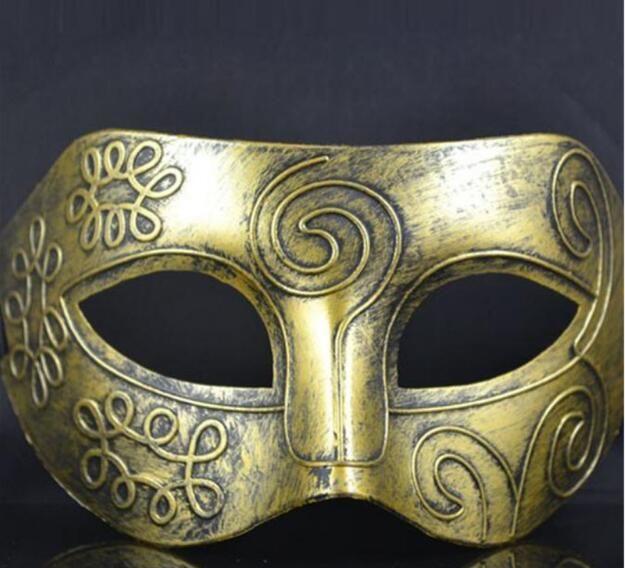 Retro greco-romano Gladiador máscaras dos homens máscaras de Ouro / Prata Máscara de Carnaval Máscara de Halloween Mens Halloween Traje Do Partido Máscara