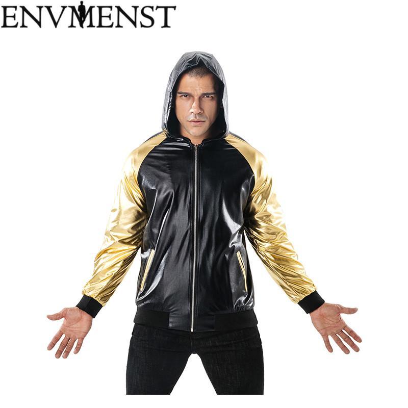2018 New Autumn Jackets Men Shiny Jacket Fashion Nightclub Clothing
