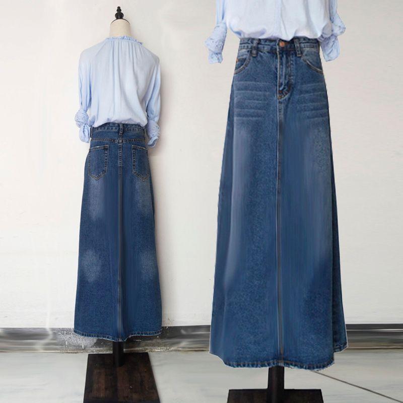faf2ae8f4c8 2019 2018 New Fashion Long Casual Denim Skirt Spring A Line Plus ...