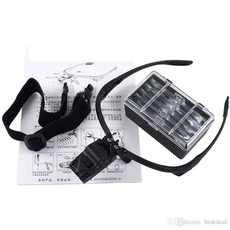 Cabeza de microscopio Luces de cristal Led Reloj de lectura Lupa de lectura Lupa Casco Visor Gafas Lupa Reparación Joyero Herramientas 9892B
