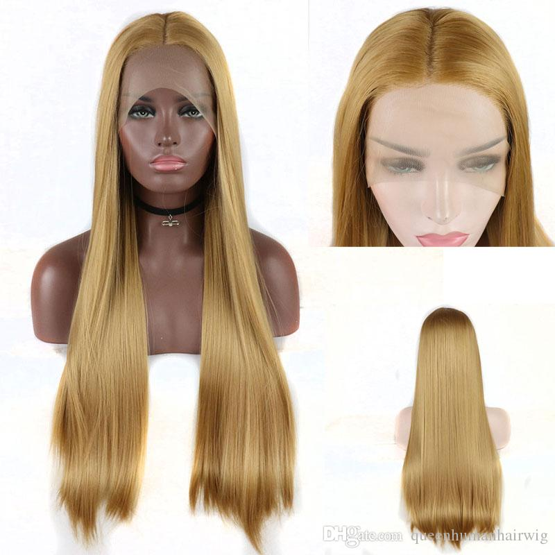 Heat Resistant Hair Gold Blonde Long Straight Half Hand Tied Synthetic Lace Front Wig Middle Parting For White Women