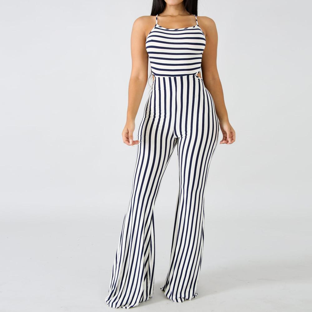 b4882f09df3 2019 Sexy Women Sleeveless Stripe Playsuit Bodycon Party Jumpsuit Trousers  Women Striped Sexy Jumpsuit From Vikey16