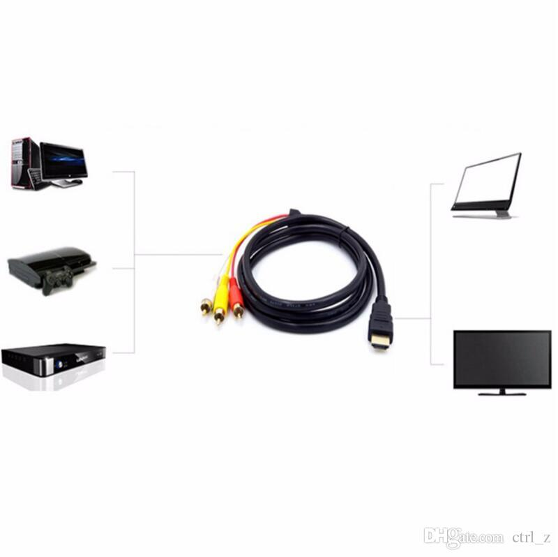 5ft 1.5M HDMI M Male to 3 RCA M Video Audio Converter Component AV Adapter Cable DVD TV Cord Transmitter Black