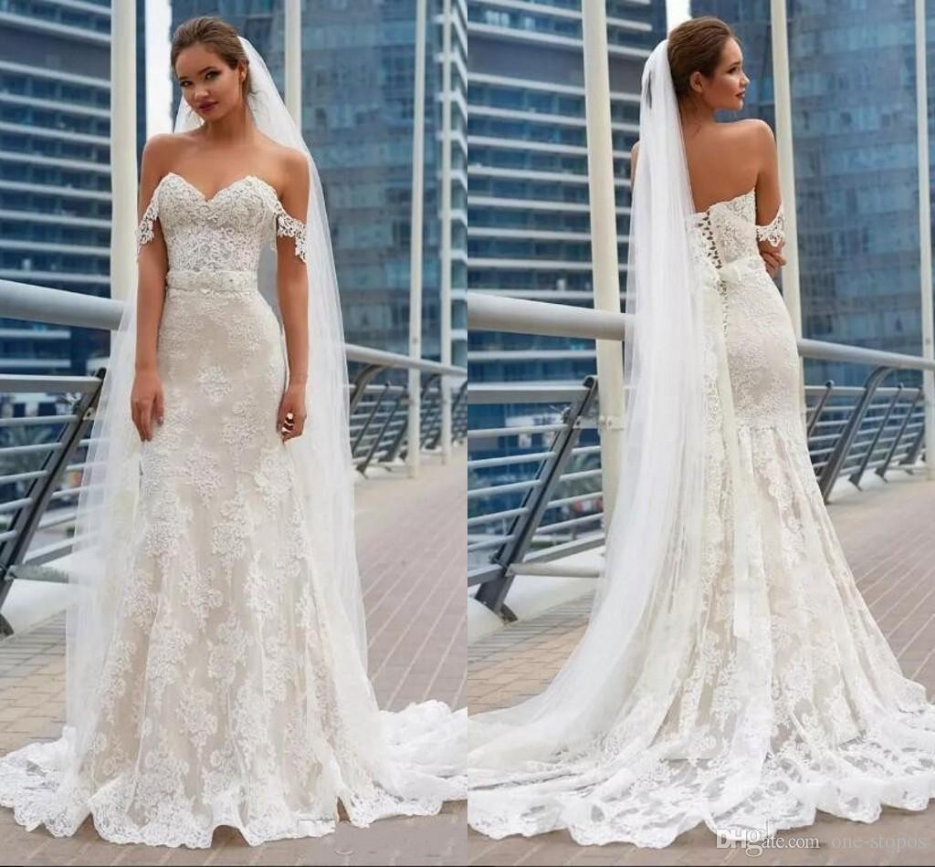 89dd4ec1fc954 New Off Shoulder Wedding Dresses 2018 Mermaid Lace Appliques Corset Lace Up  Back Cheap Long Train Bridal Gowns Mermaid Lace Wedding Dress Mermaid  Wedding ...