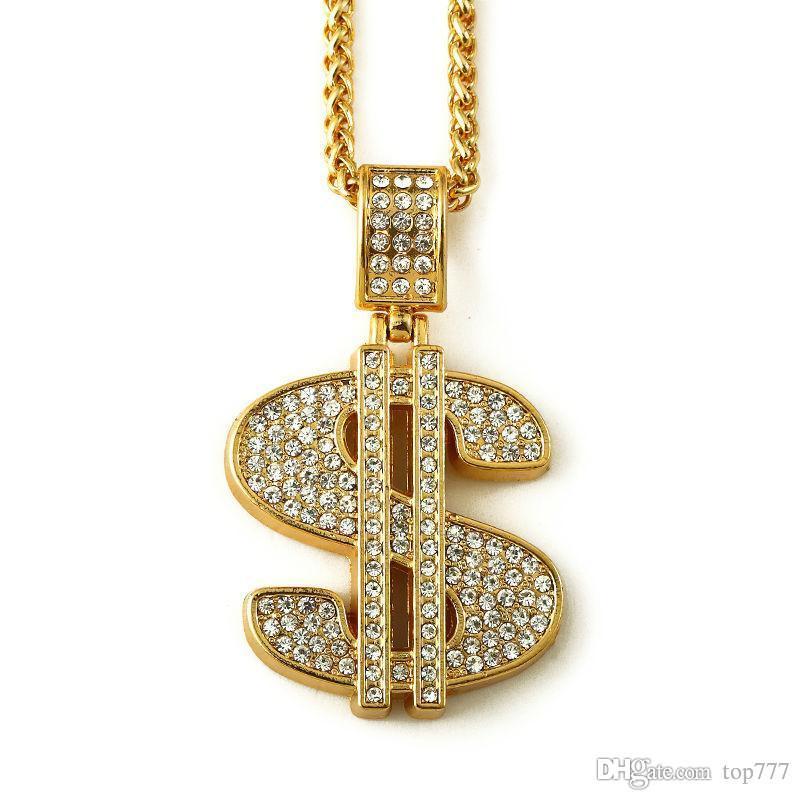480ad74c3d0c 2018 Hip Hop Oro Bling Signo de Dólar 75 cm de Oro Dólares de Cadena  Rhinestone de Cristal Colgante de Collar de Joyería de Moda Hombres Mujeres  regalos