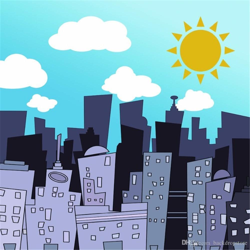 2019 white clouds blue sky city buildings kids cartoon backdrop