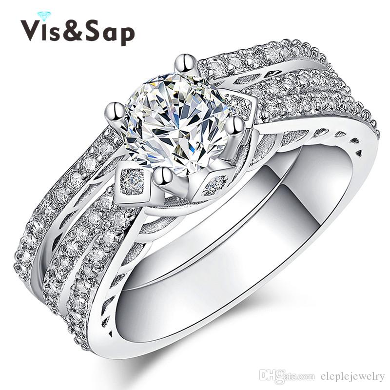 Eleple wholesale White Gold Color double ring for women with Unique Fascinating Zircon trendy Fancy wedding couple rings jewelry LSR166