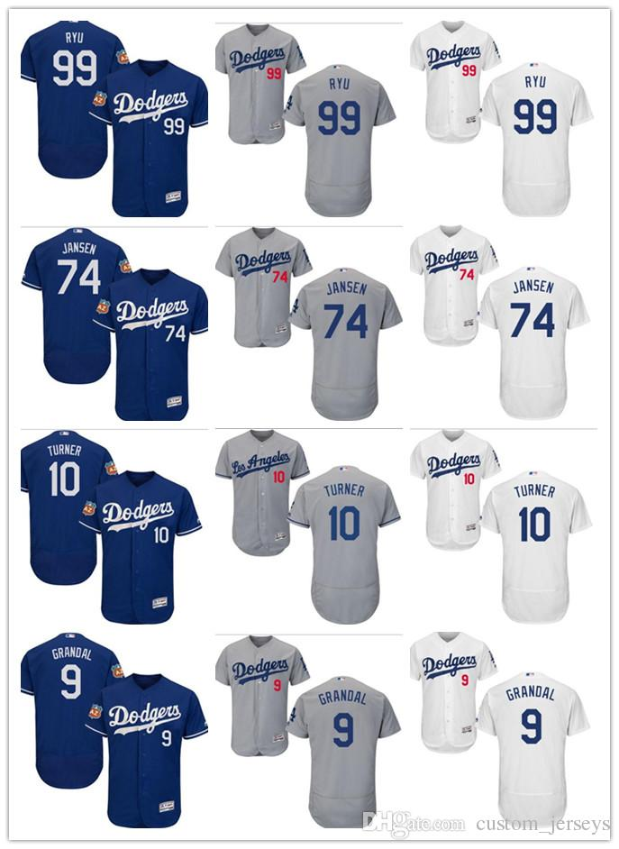 Custom Men Women Los Angeles Dodgers Jersey  99 Hyun-Jin Ryu 74 Kenley  Jansen 10 Justin Turner 9 Yasmani Grandal Blue Baseball Jerseys Los Angeles  Dodgers ... d2f5bb420b0