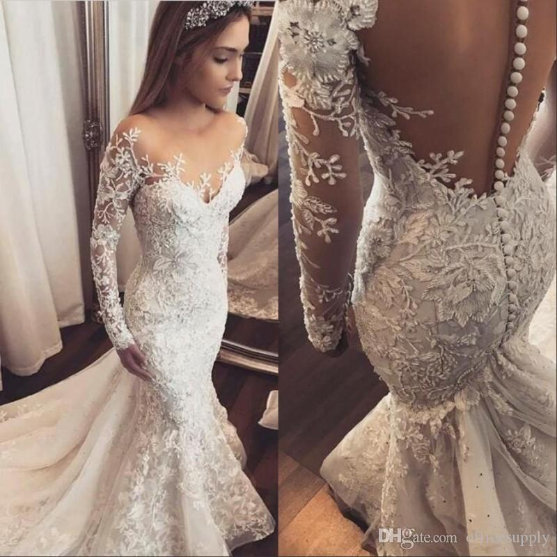 f9640ba96fa7 2019 Illusion Long Sleeves Lace Mermaid Wedding Dresses Tulle Applique  Court Bridal Formal Gowns Zipper With Button Back Wedding Dress Bridal  Couture Casual ...