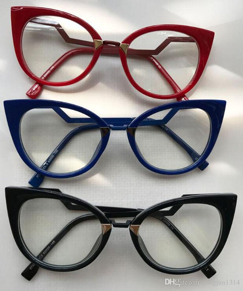 سيدة الساخنة القط العين النظارات إطارات للنساء العلامة التجارية مصمم النظارات البصرية معبد المعادن أزياء النظارات