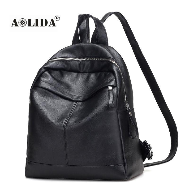 Women Black PU Leather Backpack 2017 School Bags For Girl Mochila Feminina  Waterproof Bookbag Travel Backpacks Sac a Dos 6823 Online with  44.13 Piece  on ... 52d256aa49376