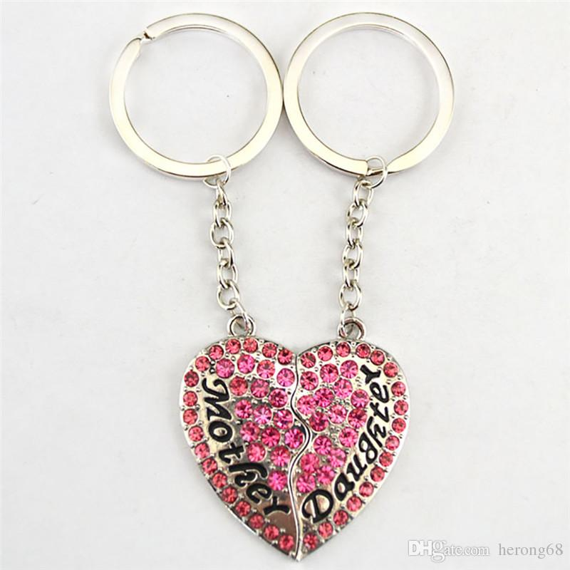 2019 Best Sale Keychain For Mother And Daughter Great Birthday Gift Choose Beautiful Sparkling Crystal Zinc Alloy Provide Dropshipping From Herong68