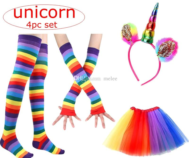 INS kids Rainbow Tutu Suit Party Princess Dance Dress with Unicorn Horn Headband leggings socks leggings gloves Set Kids Birthday Photo Prop